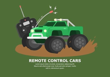 Bright Green Muddy RC Car Vector - vector gratuit #432883