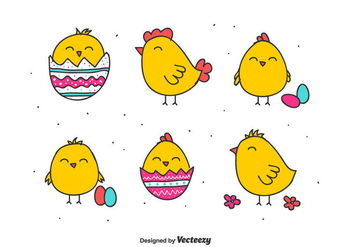 Doodle Easter Chick Vectors - Free vector #432893