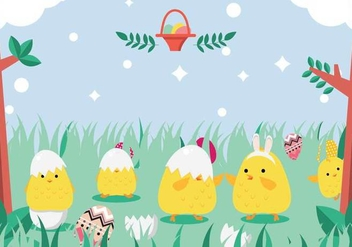Easter Chick Playing In Grass Vector - Kostenloses vector #433153