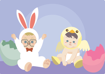 Babies With Bunny And Chick Costume Vector - Free vector #433163