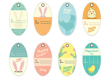 Decorative Easter Gift Tag Vectors - vector gratuit #433233