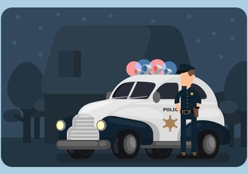 Police Car and Policeman Illustration - vector gratuit #433263