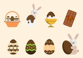 Flat Easter Chocolate Vectors - бесплатный vector #433443