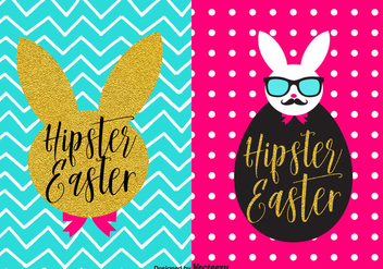 Trendy Bunny Hipster Easter Vector Poster Set - Free vector #433453
