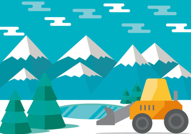 Snow Plow in the Mountains Vector - Free vector #433463