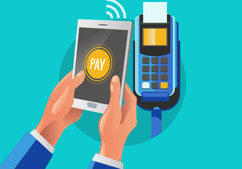 Customer Paying a Merchant with Mobile Phone NFC Technology - vector #433533 gratis