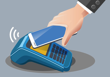 Man Paying with NFC Technology on Mobile Phone - Free vector #433543