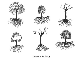 Tree With Roots Vector - Free vector #433583