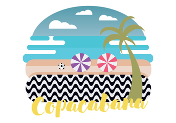 Copacabana Beach Vector Illustration - бесплатный vector #433623