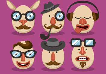 Man Hipster Easter Vector Set - бесплатный vector #433643