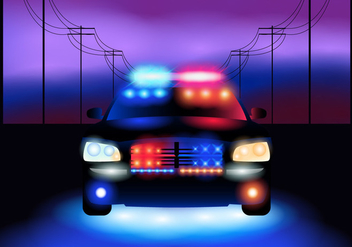 Police Car At Night - Kostenloses vector #433683