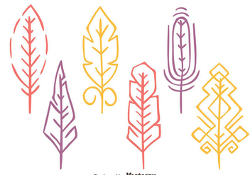 Colorful Hand Drawn Bird Feather Vectors - vector gratuit #433713