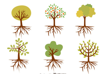 Nice Tree With Roots Vectors - Free vector #433723