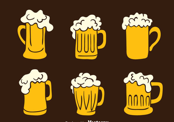 Hand Drawn Beer Glasses Vectors - Free vector #433743