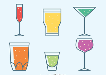 Colorful Glass Of Sprizt Collection Vectors - vector gratuit #433813