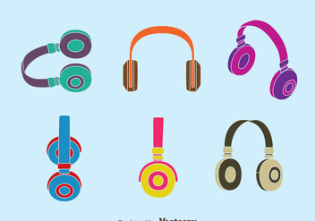Colorful Headphone Collection Vector - Free vector #433823