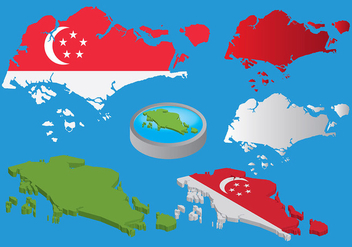 Free Singapore Map Vectors - Kostenloses vector #433863