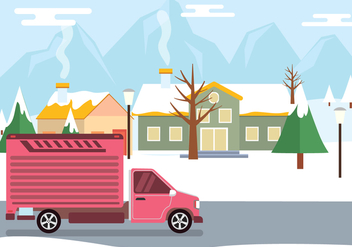 Moving Van In Winter Vector - Free vector #433963
