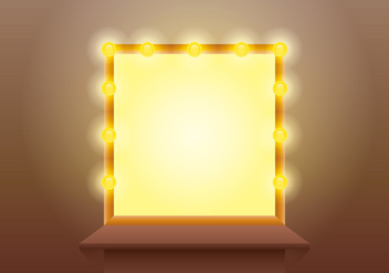 Lighted Mirror with Wooden Table Vector - vector gratuit #433983