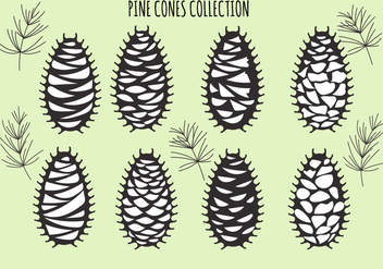 Vector set with pine cones isolated on green - бесплатный vector #434113