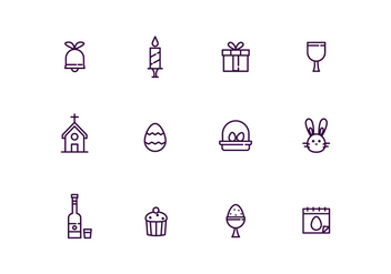Easter Icons in Outline Style - vector #434123 gratis