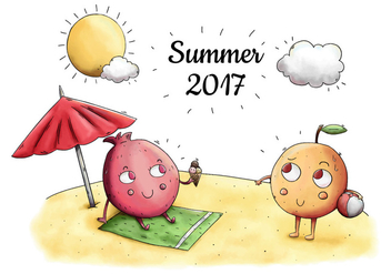 Cute Beach Scene With Cute Character Fruit Taking Sun In Summer - бесплатный vector #434153