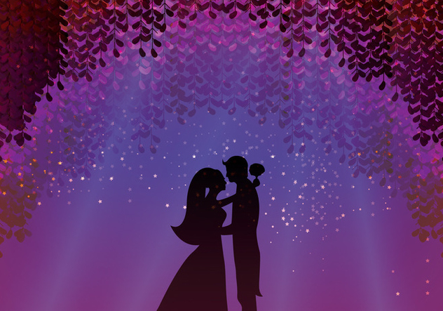 Groom And Bride Under Blossom Wisteria - Free vector #434173