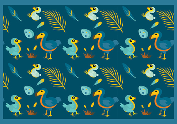 Dodo Cartoon Pattern Free Vector - vector gratuit #434183