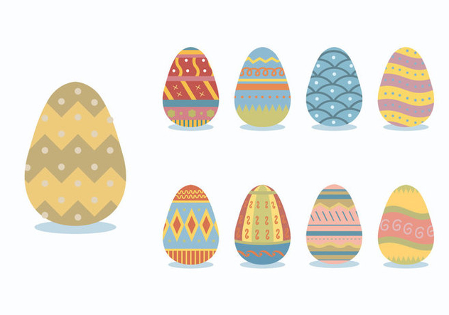 Patterned Colorful Easter Egg Vectors - Free vector #434213