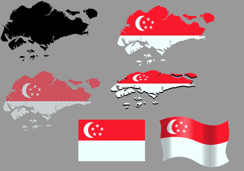 Singapore Map And Flag Vectors - Free vector #434233
