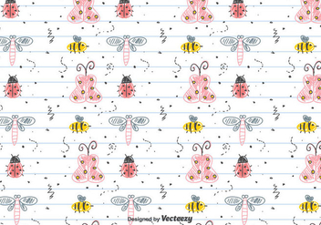 Children's Drawing Insects Pattern - Free vector #434253