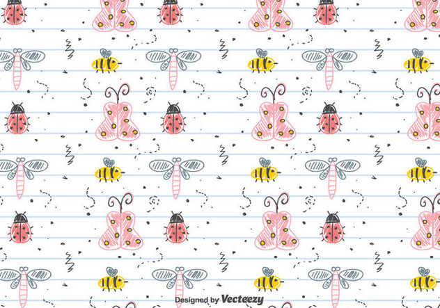 Children's Drawing Insects Pattern - vector #434253 gratis