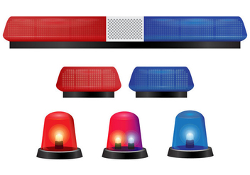 Police Lights and Siren Vectors - vector gratuit #434263