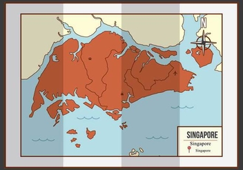 Singapore Map Illustration - Free vector #434273