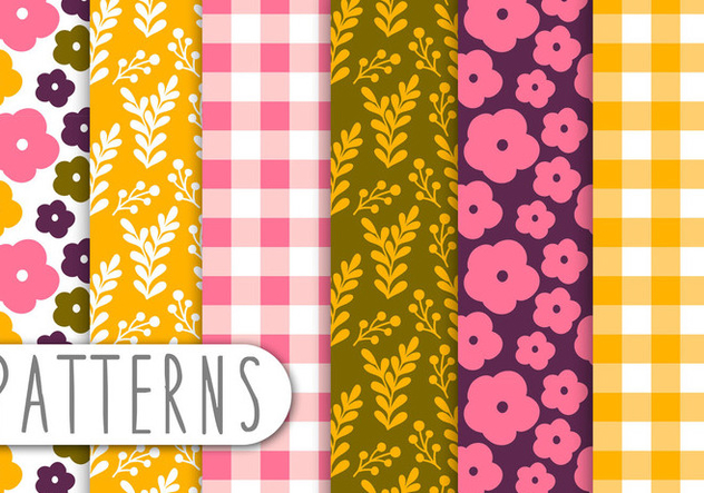 Floral and Gingham Decorative Pattern Set - Free vector #434313