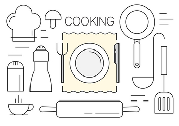 Vectors of Cooking Utensils in Minimal Design Style - vector #434603 gratis