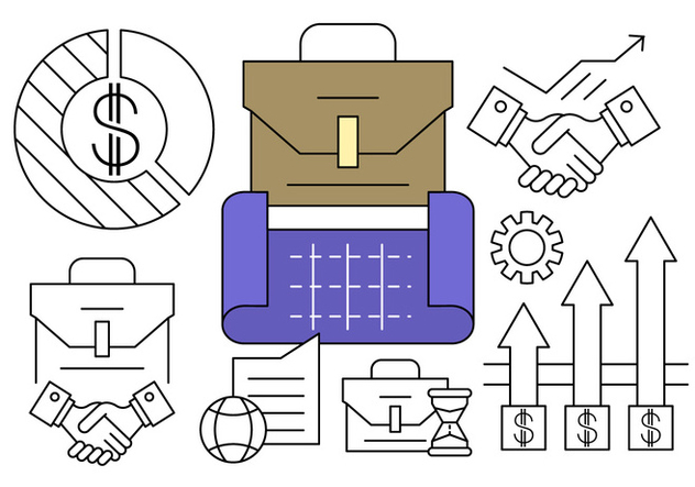Free Linear Business Plan Icons - Free vector #434653