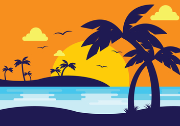 Sunset Beach With Palm Silhouette - Free vector #434833