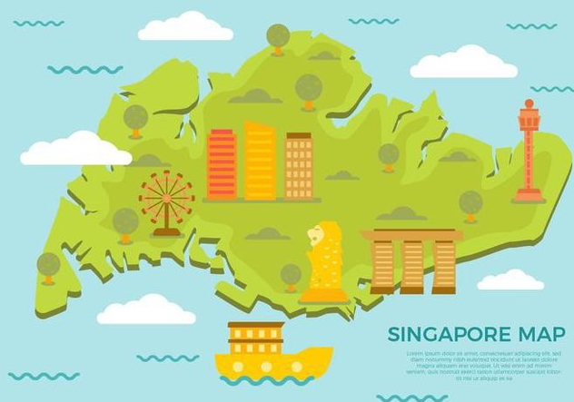 Free Singapore Map With Famous Landmark Vector - vector gratuit #434863