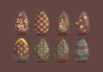 Vintage Chocolate Easter Eggs with Flowers Vectors - Free vector #434973