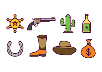 Cowboy Icon Set - vector #435013 gratis