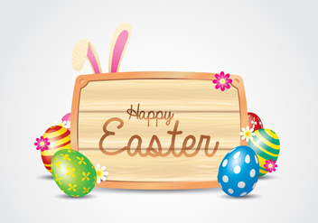 Easter Wooden Sign Background - Free vector #435073