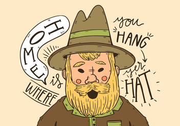 Cute Cowboy With Yellow Long Beard And Quote - Free vector #435113