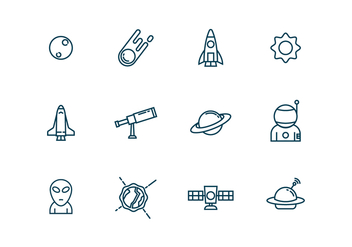 Astronomy Icons in Outline Style - Free vector #435143