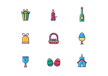 Colorful Easter Icons - vector #435153 gratis