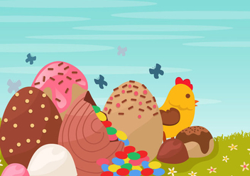 Decoration Of Chocolate Easter Egg - бесплатный vector #435233