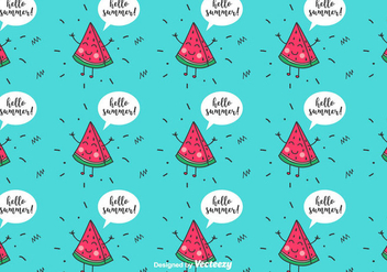 Funny Watermelon Pattern - vector #435313 gratis