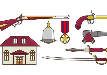 Set Of American Colonial Icons - Free vector #435343