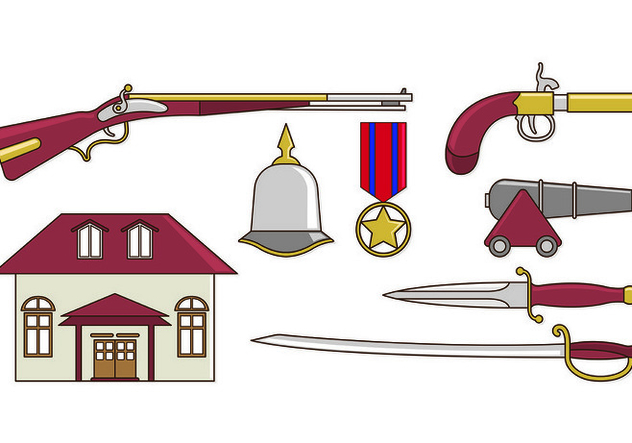 Set Of American Colonial Icons - vector gratuit #435343