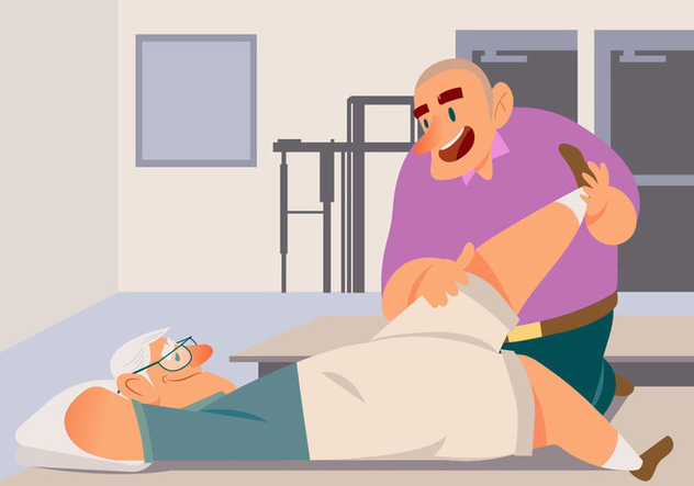 Old Man With Physiotherapist Vector - vector #435423 gratis